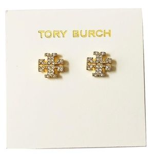 Tory Burch Earrings Gold Crystal Studs New